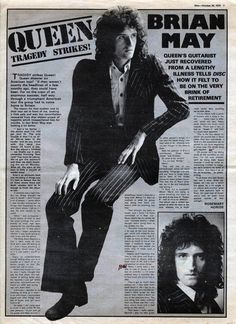 Here is an article on Brian written just after his recovery from hepatitis & just before the release of Sheer Heart Attack. Queen Brian May, I Am A Queen, John Deacon, Queen Guitarist, Impression Poster, Princes Of The Universe, Roger Taylor Queen, Queen Photos, We Will Rock You