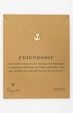 'Reminder - Friendship' Boxed Anchor Pendant Necklace by Dogeared