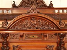 Oscar Gerbstadt piano high relief carving detail of oak leaves and acorns within…