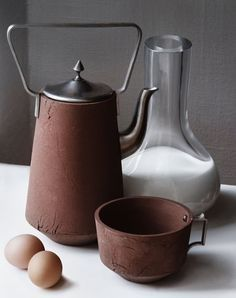 Dutch Designers, Atelier NL- Ceramics collection made of clay collected from different farms and metal and glass parts.