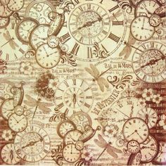 Ricepaper/Decoupage paper,Scrapbooking Sheets Clocks and Dragonfly Brown