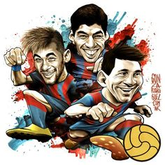 "551. Caricature: Neymar, Suarez and Messi   |  #fcblive [via @pablinscki] "" @Poltc94"