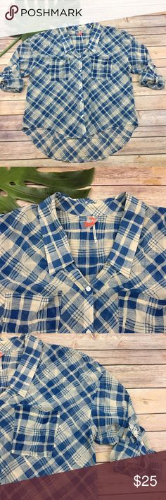 Blue plaid Semi Sheer High Low Top Free People blue Semi Sheer High Low top. Good condition. Measures about 36 inches around the bust and is about 25 inches long. Free People Tops Blouses