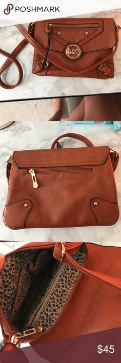 Brown Leather Crossbody Bag with Gold Accents Durable, yet stylish crossbody bag. Very lightly used, in great condition' Bags Crossbody Bags