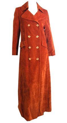Glam Rock Sienna Velveteen Maxi Coat circa 1970s - Dorothea's Closet Vintage