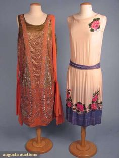 Augusta Auctions, October 2008 Vintage Clothing & Textile Auction, Lot 611: Two Beaded Silk Dresses, 1920s