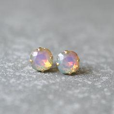 Opal Rainbow Earrings Swarovski Crystal Rare White Opal Pastel Square Stud Earrings Rounded Square Mashugana