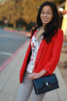 BUTTERFLY KISSES / Red blazer, butterfly print, and Ferragamo clutch