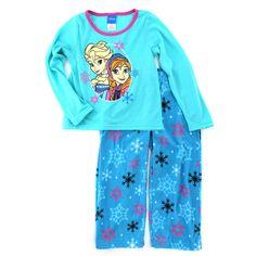 Frozen Elsa Anna Girls Teal Fleece Pajamas FZ035GLL 4 6 6X 8 10 12 Disney #Disney #PajamasSet