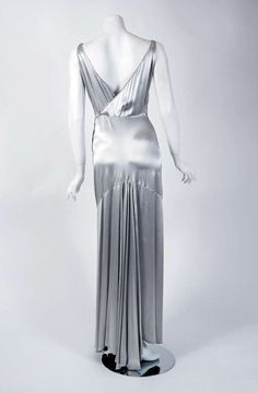 Evening Gown (shown sans Bolero): ca. 1930's, French, bias-cut silk satin, beaded and embroidered.