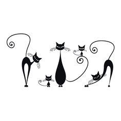 Cat Outline Tattoo, Cat Tattoo, Black Cat Art, Doodle Art Journals, Pebble Painting, Vinyl Crafts, Cat Drawing, Fabric Wallpaper, Minimalist Art