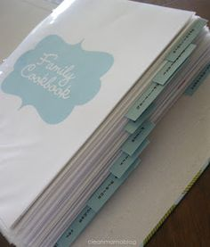 Make a Recipe Binder Keep your favorite recipes close at hand with your own recipe binder. How To Make a Recipe Binder via Clean MamaKeep your favorite recipes close at hand with your own recipe binder. How To Make a Recipe Binder via Clean Mama Recipe Organization, Storage Organization, Organizing Ideas, Making A Cookbook, Cookbook Ideas, Fixate Cookbook, Cookbook Recipes, Plenty Cookbook, Cookbook Display