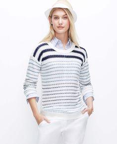 Striped Linen Sweater   Ann Taylor