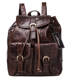 Iblue Small Backpack Travel Handbag Vintage Leather Lady Backpack Purse 12 Inch 2011 L Coffee >>> You can find more details by visiting the image link.