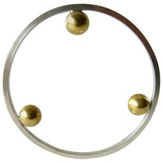 Heidi Abrahamson Sterling Silver Brass Bangle Bracelet | From a unique collection of vintage bangles at https://www.1stdibs.com/jewelry/bracelets/bangles/