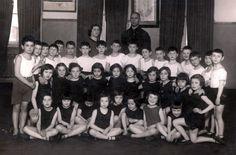 "Riga, Latvia, A group photograph of ""Mechina"" (preparatory) Class B at a physical education class, 1933."