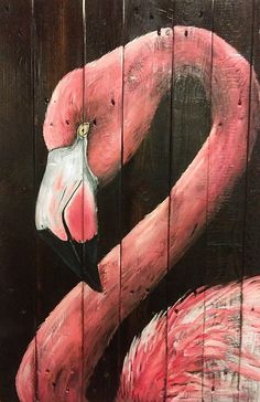 Beautiful Pink Flamingo on reclaimed wood www.facebook.com/perfectleeimperfect