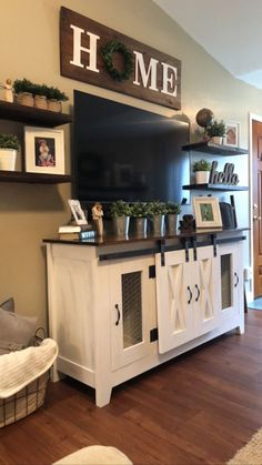 If you are looking for Farmhouse Living Room Tv Stand Design Ideas, You come to the right place. Below are the Farmhouse Living Room Tv Stand D. Living Room Tv, Home And Living, Small Living, Modern Living, Tv Stand Ideas For Living Room, Diy Living Room Decor, Living Room Decor Around Tv, Over Tv Decor, Living Room Country