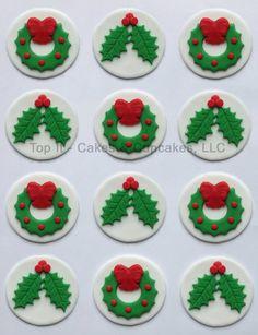 27 Ideas Cupcakes Fondant Navidad Cake Toppers For 2019 Fondant Cupcake Toppers, Deco Cupcake, Christmas Cupcake Toppers, Christmas Cake Designs, Christmas Topper, Christmas Cake Decorations, Fondant Cookies, Fondant Decorations, Christmas Cupcakes