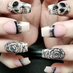 Skulls n roses by Oli123 from Nail Art Gallery