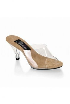 0482ef469c9 Fabulicious Belle 301 Clear Slip on Low Heel Mule with Tan Insole
