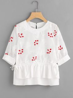 SheIn offers Embroidery Frill Trim Peplum Blouse & more to fit your fashionable needs. Teen Fashion Outfits, Trendy Outfits, Kids Outfits, Girl Fashion, Fast Fashion, Kurta Designs, Blouse Designs, Baby Frocks Designs, Frock Fashion