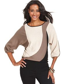Style Sweater, Dolman-Sleeve Colorblock Banded - Sweaters - Women - Macy's