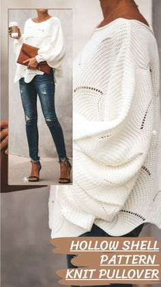 Loose style and unique shell pattern hollowing out, It's an indispensable sweater in your wardrobe. Warm Outfits, Trendy Outfits, Winter Outfits, Fashion Outfits, Stylish Rain Boots, Oversized Sweaters, Winter Magic, Interesting Topics, Sweater And Shorts