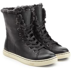 UGG Australia Leather High-Top Sneaker Boots (€150) ❤ liked on Polyvore featuring shoes, black, black hi tops, high top leather shoes, kohl shoes, black high top shoes and black high tops