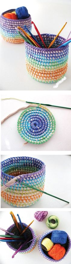 Diy Coil Crochet Basket Rainbow Tutorial