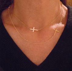 14KT GOLD Kelly Ripa Cross Necklace Set Off Center by Luluka, $148.00