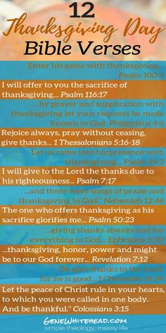 12 Thanksgiving Bible verses plus 5 quotes and a printable!