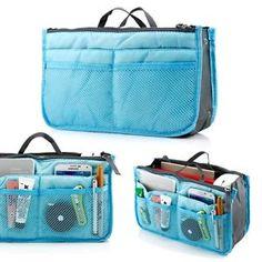 Blue Nylon Women Travel Insert Organizer 13 Compartments Large Liner Tidy Bag    eBay