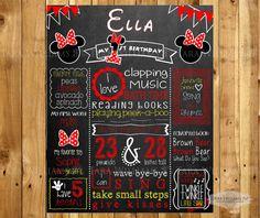 Classic Minnie Mouse Chalkboard Birthday Sign  by TaraWilliamsArt