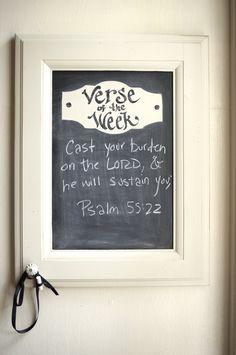 Cabinet Verse of the Week Chalkboard - Scripture Memory - Bible Verse on Etsy, $48.00