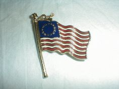 vintage 1928 Co. american flag brooch old by qualityvintagejewels. www.qualityvintagejewelry.com .