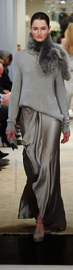 Silk maxi fashion with cozy grey sweater, lose the wrap