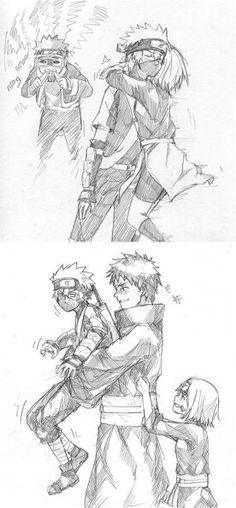 Obito, Rin und Kakashi