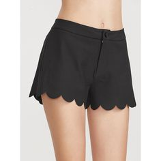 SheIn(sheinside) Black Scallop Edge Wide Leg Shorts ($17) ❤ liked on Polyvore featuring shorts, black, high rise shorts, high-rise shorts, scallop hem shorts, high waisted shorts and scalloped shorts