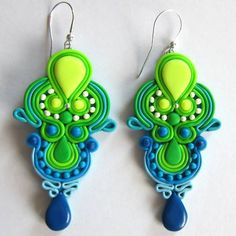 Handmade Oriental Fimo Polymer Clay Green & Blue by omifimo