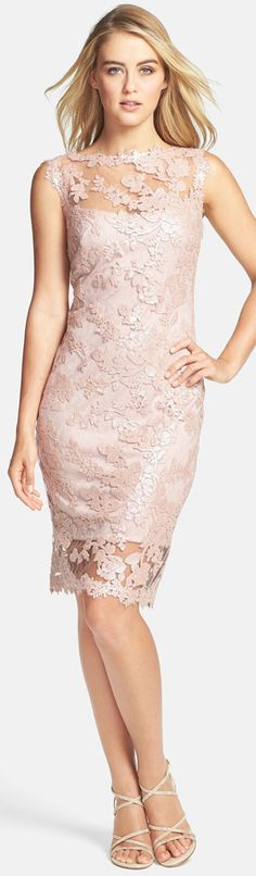 Tadashi Shoji Sequin Illusion Lace Dress this could be an awesome bridesmaids dress, or maybe maid of honor and  something abit less ornate for the rest.