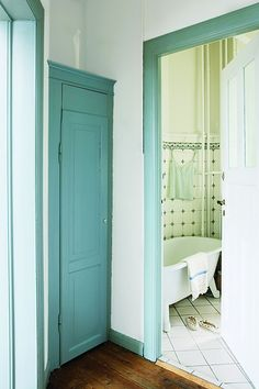 Bathroom paint colors bright turquoise 65 Ideas for 2019 Trim Paint Color, Green Apartment, Dark Trim, Indoor Doors, Bathroom Paint Colors, Painting Trim, Painting Molding, Painting Walls, Interior Trim
