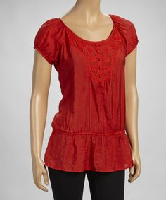 Take a look at this Orange Beaded Drop-Waist Peasant Top on zulily today!