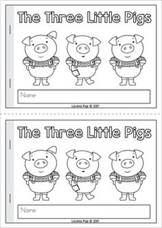 The Three Little Pigs Emergent Reader by Lavinia Pop Nursery Rhymes Kindergarten, Rhyming Kindergarten, Kindergarten Reading, Kindergarten Lessons, 3 Little Pigs Activities, Book Activities, Preschool Activities, Preschool Learning, Three Little Piggies