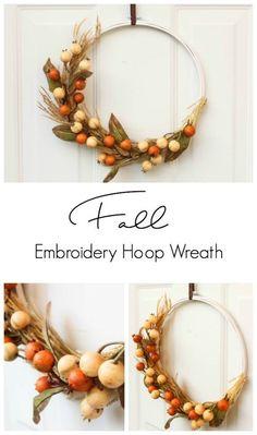 DIY Autumn Embroidery Hoop Wreath | Love Create Celebrate