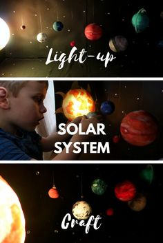 Light-up Solar System Craft - how to create a model solar system with stars, planets and a glowing sun. Solar System Model Project, Make A Solar System, Solar System Projects For Kids, Solar System Mobile, Solar System Crafts, Solar System Planets, Science Projects For Kids, Science For Kids, School Projects