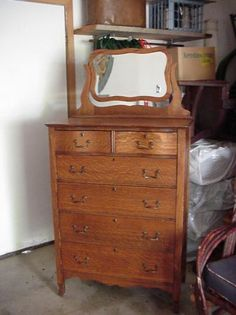vintage oak highboy dresser with mirror