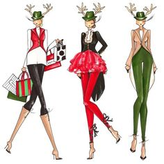 On Dasher. On Dancer. On Prancer and. Christmas Doodles, Christmas Clipart, Fashion Sketches, Fashion Illustrations, Christmas Fashion, Christmas Holidays, Brittany, Fashion Forward, Dancer
