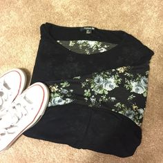 BOGO  Slouchy Top Super cute slouchy top. Front is black and the back is a flower pattern  adorable with jeans and booties! Worn but will a lot of life left! Forever 21 Tops Tees - Long Sleeve