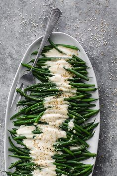 Whip up these Dijon Tahini Green Beans as an anytime side for a festive spread or a cozy family picnic. Oil-free, gluten-free, and grain-free. Vegetable Side Dishes, Vegetable Recipes, Vegetarian Recipes, Healthy Recipes, Vegan Side Dishes, Side Dish Recipes, Whole Food Recipes, Cooking Recipes, Green Beans